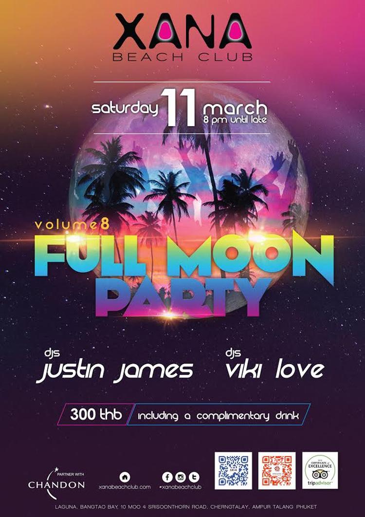 Full Moon Party @ XANA Beach Club Saturday 11 March