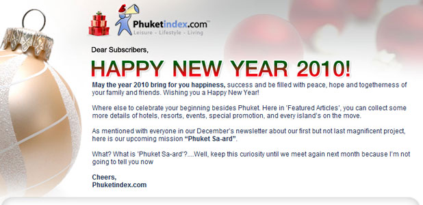 Phuketindex.com, Newsletter Jan 2010