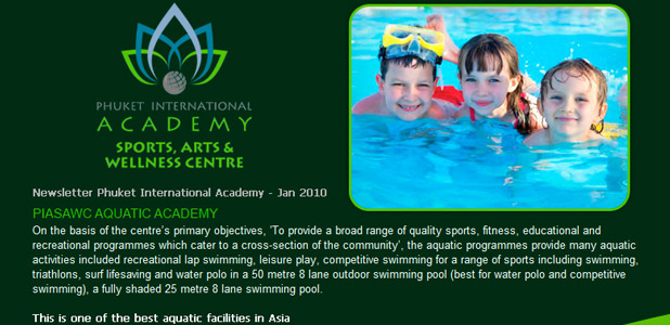 Phuket International Academy, Newsletter Jan 2010